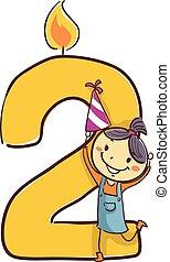 poco, figura, numero due, bastone, presa a terra, candela, ragazza festa, cappello, capretto