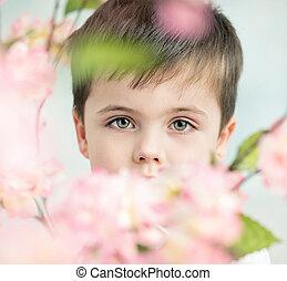 poco, flor, hombre, guapo