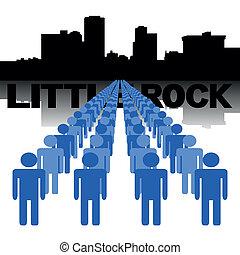 poco, gente, contorno, roca