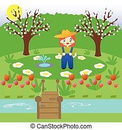 poco, giardino fiore, giardiniere