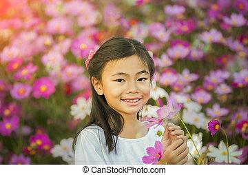 poco, giardino, ragazza, asiatico