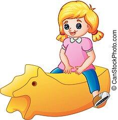 poco, giocattolo, isolato, sfondo giallo, sentiero per cavalcate, ragazza, bianco