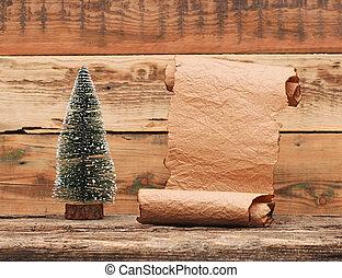poco, giocattolo, vecchio albero, carta natale, rotolo