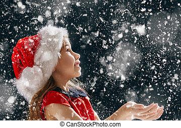 poco, gracioso, niña, copos de nieve