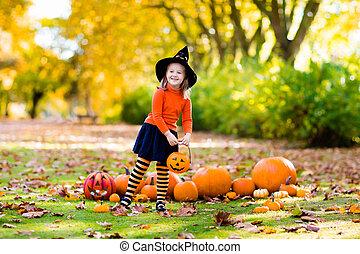 poco, halloween, trucco, strega, costume, ragazza, o, trattare