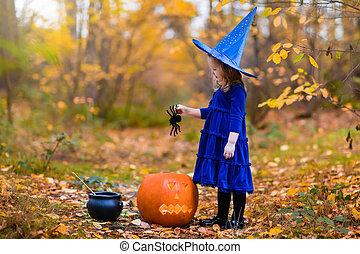 poco, halloween, trucco, trattare, ragazza, o