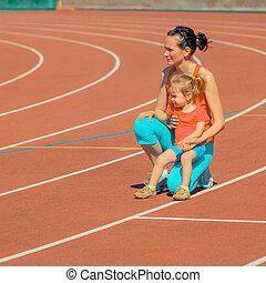 poco, hija, alrededor, y, lejos, madre, corre, corriente,...