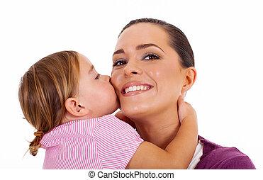 poco, hija, besar, madre