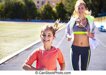 poco, hija, ejercicio, estadio, madre