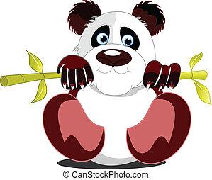 poco, illus, seduta, vettore, panda.