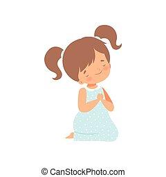 poco, ilustración, arrodillar, vector, niña, rezando, adorable, caricatura