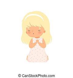 poco, ilustración, arrodillar, vector, oración, niña, adorable, caricatura