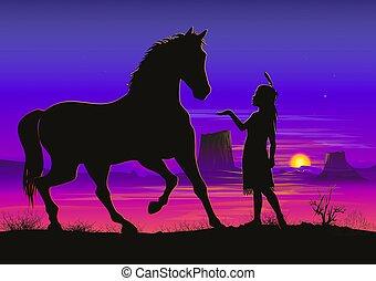 poco, indiano, ragazza, con, cavallo