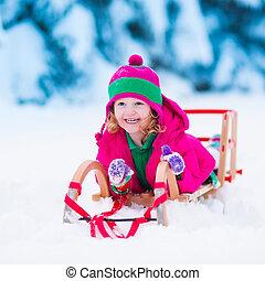 poco, inverno, nevoso, foresta, ragazza, gioco