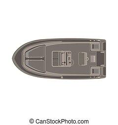 poco, isolato, illustrazione, vettore, fondo, bianco, motobarca, icona