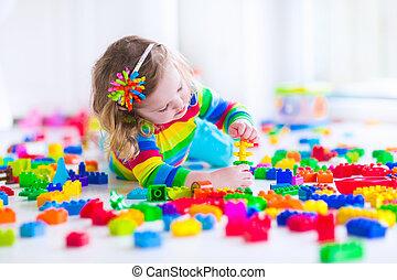 poco, juguete, Bloques, colorido, niña, juego