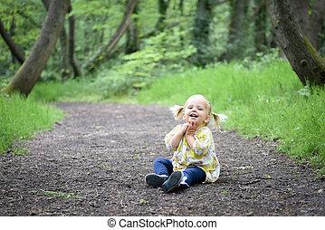 poco, legno, ragazza, felice