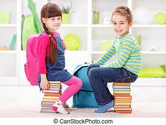 poco, libri, alunni, mucchi, seduta