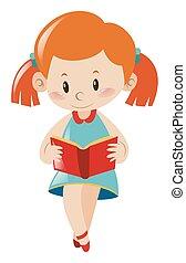 poco, libro, lectura, niña