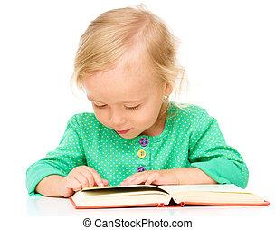 poco, libro, niña, ella, lectura
