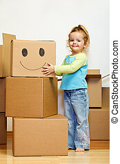 poco, lotti, grimacing, scatole, ragazza, cartone