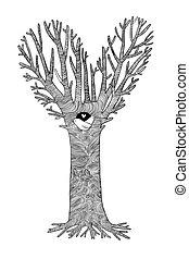 poco, magia, due, hollow., albero., uccelli