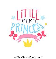poco, mamme, principessa, etichetta, colorito, mano, disegnato, vettore, illustrazione