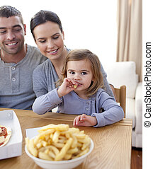 poco, mangiare, frigge, casa, ragazza, pizza