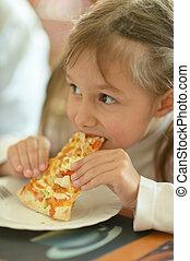 poco, mangiare, ragazza, pizza