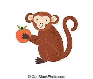 poco, mascota, mono, escandinavo, manzana, blanco, infantil, plano de fondo, sentarse, ilustración, divertido, asimiento, lindo, aislado, plano, paws., style., vector, encantador, animal, caricatura, ape., chimpancé