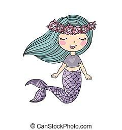 poco, mermaid., caricatura, mar, lindo, siren., theme.
