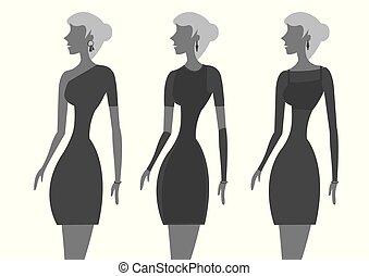 poco, moda, ilustración, vector, vestido negro