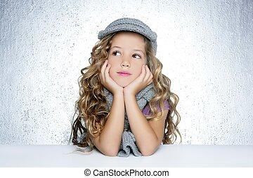 poco, moda, invierno, gorra, retrato, niña, lana, bufanda