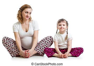 poco, mujer, yoga, embarazada, joven, ejercicios, niño