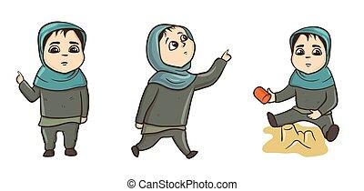 poco, musulmano, ragazza, standing, camminare, gioco, in, il, sandbox., vettore, illustrazione, set, isolato, su, white.