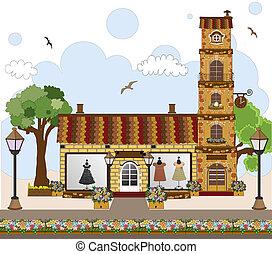 poco, negozio, o, boutique, casa, retro, negozio, carino