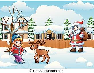 poco, nevicare, claus, cervo, santa, villaggio, ragazza, cartone animato