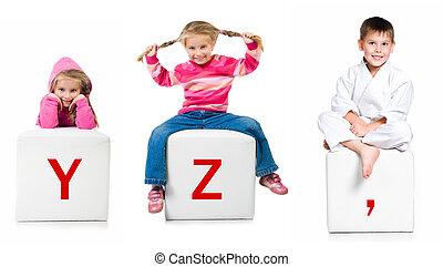 poco, niño, en, el, bloque, con, carta