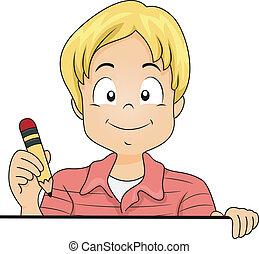 poco, niño, niño, tenencia, un, lápiz, con, blanco, tabla