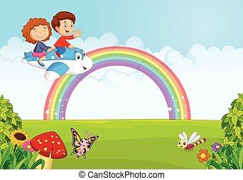 poco, niño, operar, plan, caricatura
