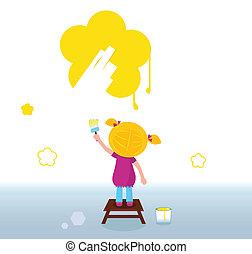 poco, niño, pintura, flor amarilla