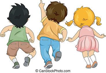 poco, niños, arriba, vista, espalda, mirar
