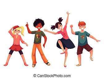 poco, niños, bailando, expressively, caricatura, estilo, vector, ilustración
