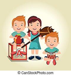 poco, niños, jugar juguetes, caracteres