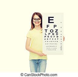 poco, occhiali, occhio, controllo, grafico, ragazza