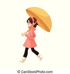 poco, ombrello, cappotto, sotto, isolato, stivali, infastidito, gomma, fondo., pioggia, camminare, bianco, ragazza, capretto