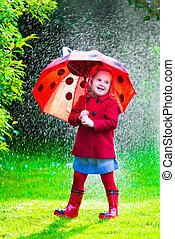 poco, ombrello, ragazza, pioggia, gioco