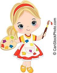 poco, paleta artista, pintura, vector, brush., niña