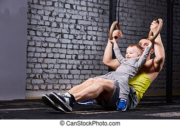 poco, pared llama, padre, ejercitar, contra, hijo, gym., ...