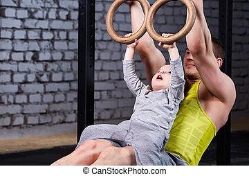 poco, pared llama, padre, joven, contra, hijo, gym., ...